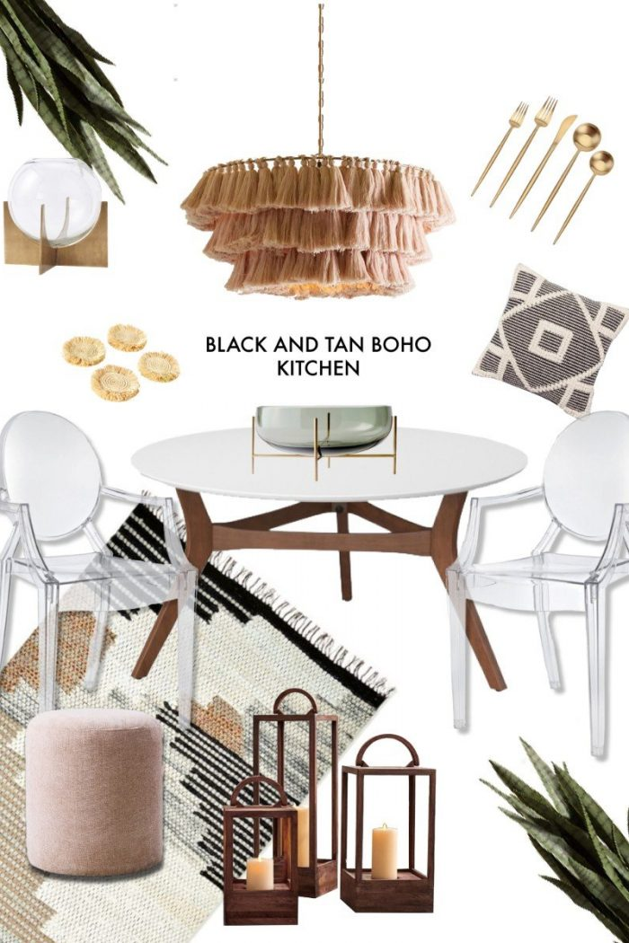 Black & Tan Boho Kitchen With Girly-Glam Accents