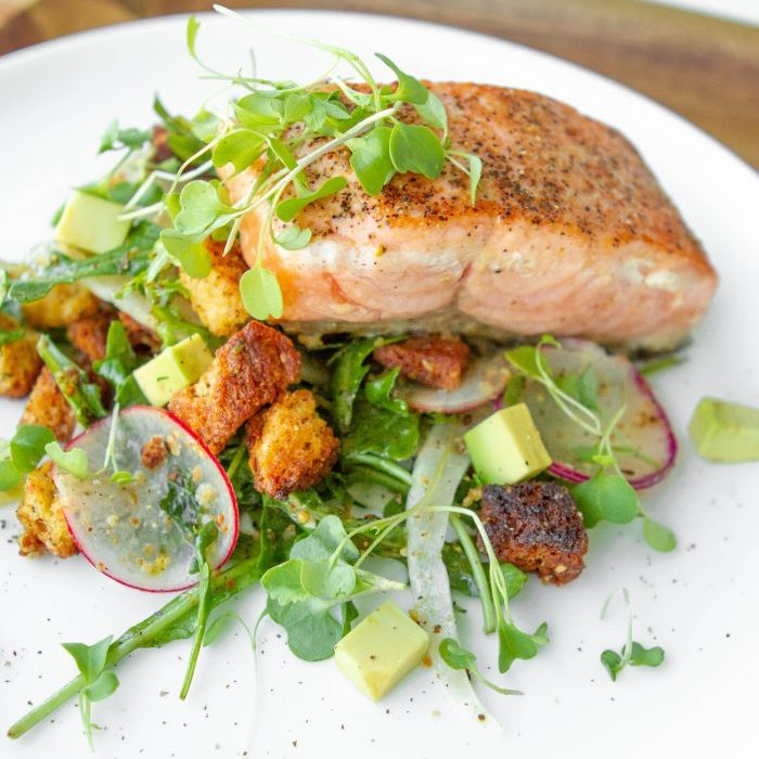 Buttered Salmon, Arugula Fennel Salad