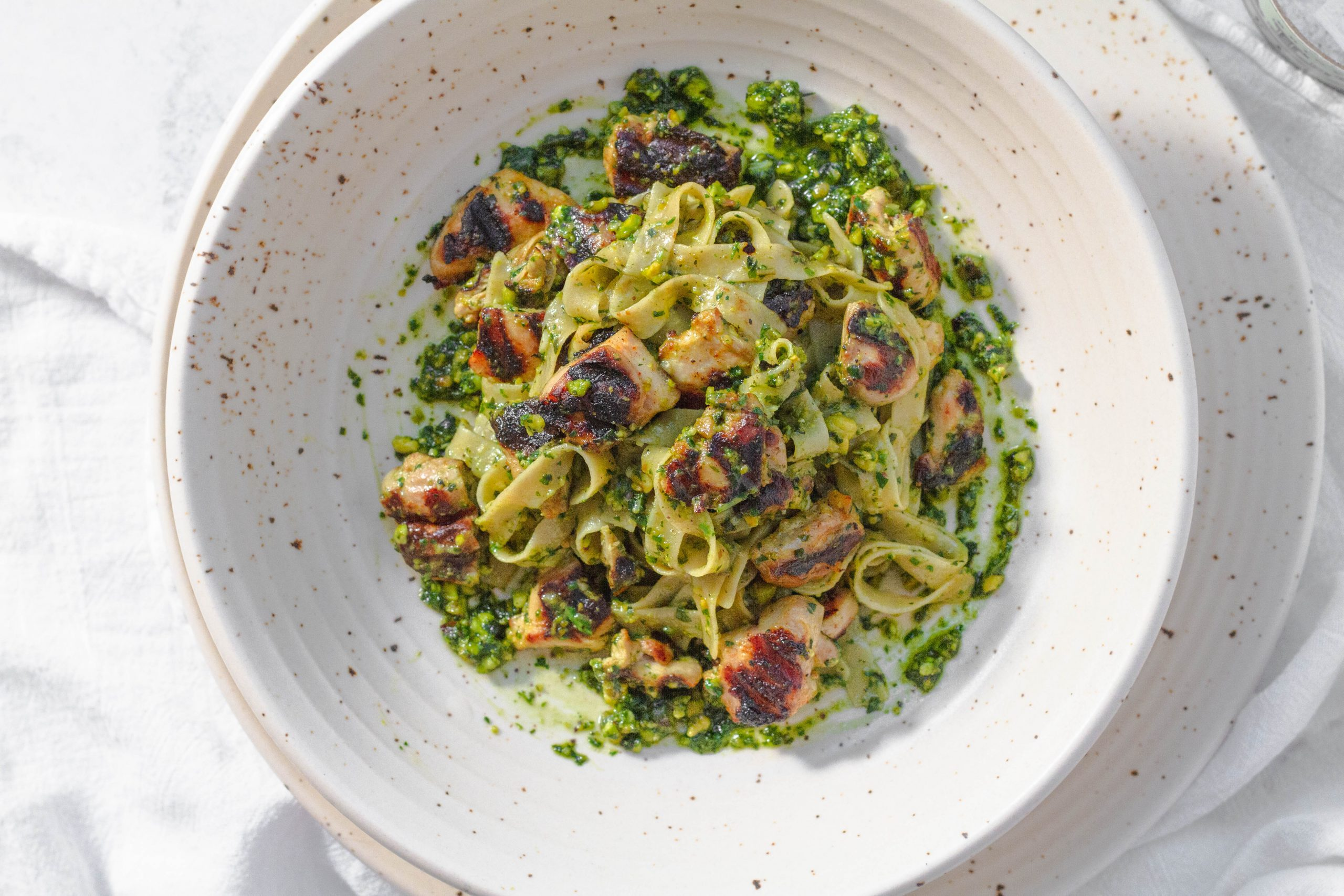Pistachio pesto with egg noodles and chicken