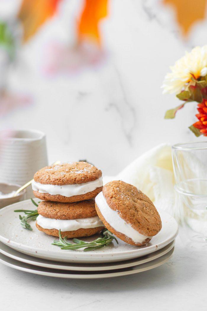 Gluten-Free Macadamia Rosemary Ice Cream Sandwiches